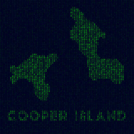 Digital Cooper Island . Island symbol in hacker style. Binary code map of Cooper Island with island name. Beautiful vector illustration.