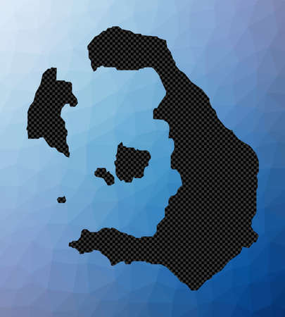 Santorini geometric map. Stencil shape of Santorini in low poly style. Stylish island vector illustration.
