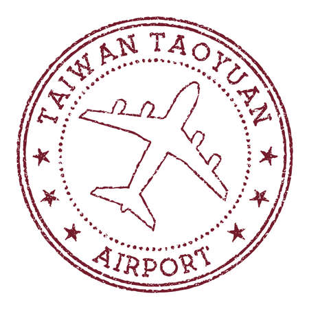 Taiwan Taoyuan Airport stamp. Airport of Taipei round . Vector illustration.