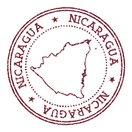 Nicaragua round rubber stamp with country map. Vintage red passport stamp with circular text and stars, vector illustration.
