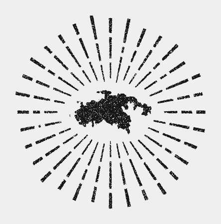 Vintage map of Saint John. Grunge sunburst around the island. Black Saint John shape with sun rays on white background. Vector illustration.