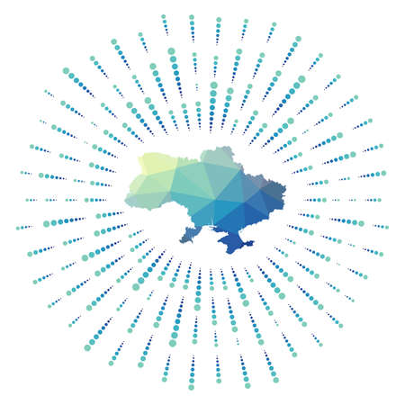 Shape of Ukraine, polygonal sunburst. Map of the country with colorful star rays. Ukraine illustration in digital, technology, internet, network style. Vector illustration.