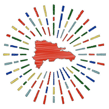 Sketch map of Dominicana. Sunburst around the country in flag colors. Hand drawn Dominicana shape with sun rays on white background. Vector illustration.