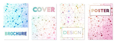 A4 brochure cover sheets. Can be used as cover, banner, flyer, poster, business card, brochure. Astonishing geometric background collection. Attractive vector illustration.