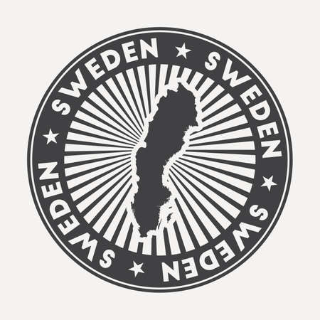 Sweden round logo. Vintage travel badge with the circular name and map of country, vector illustration. Can be used as insignia, logotype, label, sticker or badge of the Sweden. 向量圖像