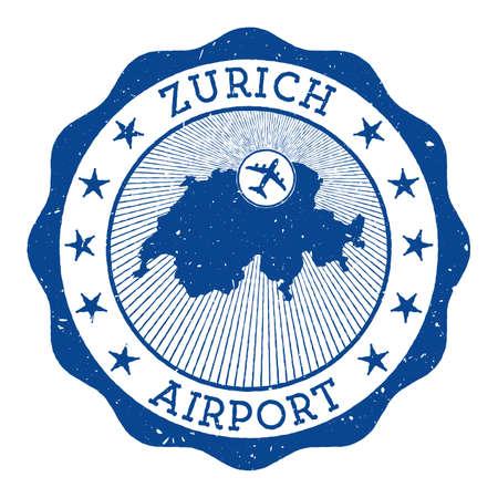 Zurich Airport stamp. Airport of Zurich round logo with location on Switzerland map marked by airplane. Vector illustration.