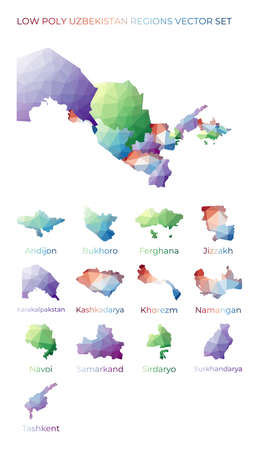 Uzbekistani low poly regions. Polygonal map of Uzbekistan with regions. Geometric maps for your design. Radiant vector illustration.