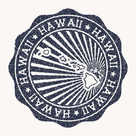 Hawaii stamp. Travel rubber stamp with the name and map of island, vector illustration. Can be used as insignia, logotype, label, sticker or badge of the Hawaii. 矢量图像
