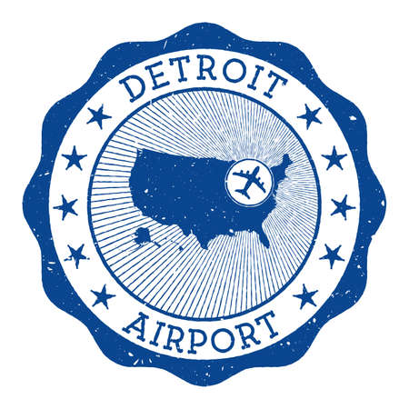 Detroit Airport stamp. Airport of Detroit round logo with location on United States map marked by airplane. Vector illustration. 矢量图像