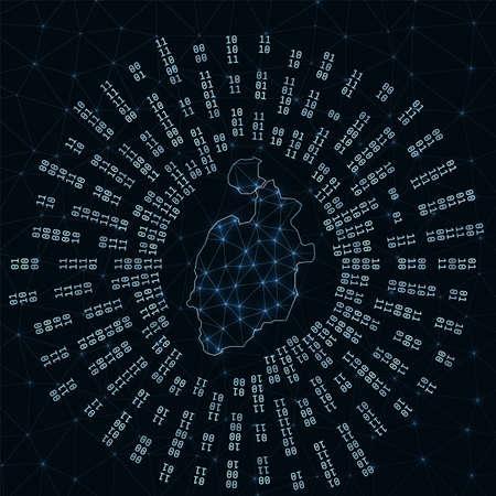 Isla de Providencia digital map. Binary rays radiating around glowing island. Internet connections and data exchange design. Vector illutration. 矢量图像