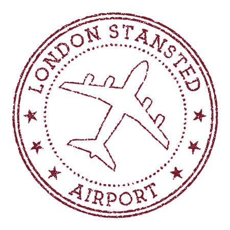 London Stansted Airport stamp. Airport of London round logo. Vector illustration.