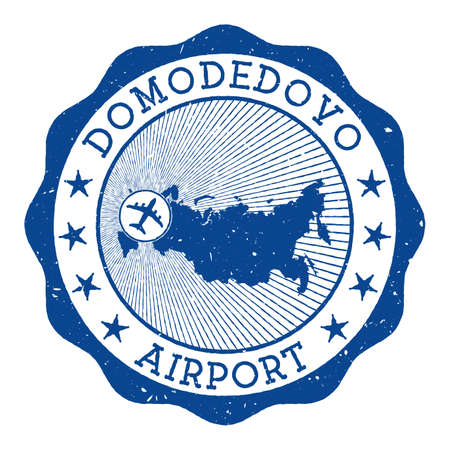 Domodedovo Airport stamp. Airport of Moscow round logo with location on Russia map marked by airplane. Vector illustration.