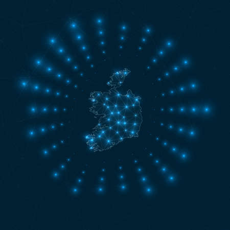 Ireland digital map. Glowing rays radiating from the country. Network connections and telecommunication design. Vector illustration.