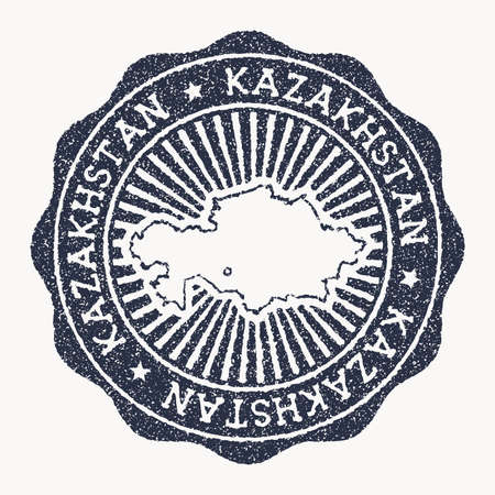 Kazakhstan stamp. Travel rubber stamp with the name and map of country, vector illustration. Can be used as insignia, logotype, label, sticker or badge of the Kazakhstan.