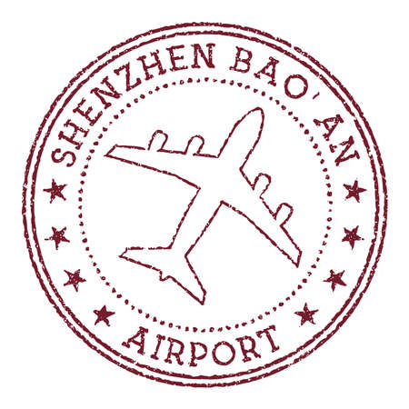 Shenzhen Bao'an Airport stamp. Airport of Shenzhen round logo. Vector illustration. Ilustracja