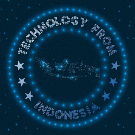Technology From Indonesia. Futuristic geometric badge of the country. Technological concept. Round Indonesia logo. Vector illustration. 矢量图像