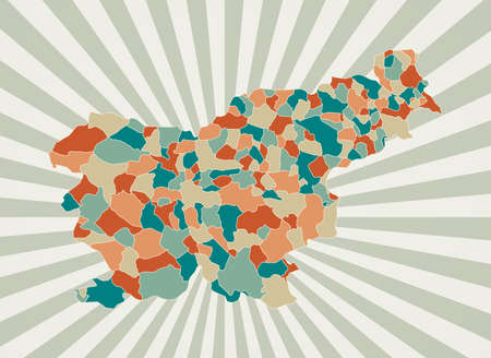 Slovenia map. Poster with map of the country in retro color palette. Shape of Slovenia with sunburst rays background. Vector illustration.