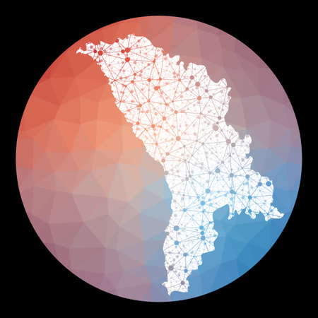 Vector network Moldova map. Map of the country with low poly background. Rounded Moldova illustration in technology, internet, network, telecommunication concept style . Neat vector illustration. Vektorové ilustrace