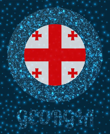 Round Georgia badge. Flag of Georgia in glowing network mesh style. Country network logo. Creative vector illustration.
