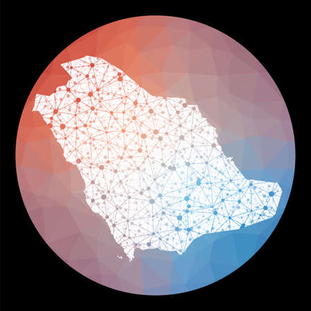 Vector network Saudi Arabia map. Map of the country with low poly background. Rounded Saudi Arabia illustration in technology, internet, network, telecommunication concept style.