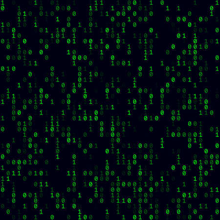 Digital background. Green sparse binary background. Medium sized seamless pattern. Modern vector illustration.