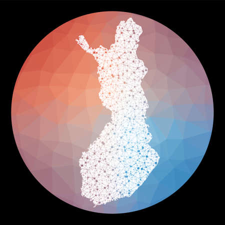 Vector network Finland map. Map of the country with low poly background. Rounded Finland illustration in technology, internet, network, telecommunication concept style . Creative vector illustration.