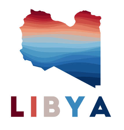 Libya map. Map of the country with beautiful geometric waves in red blue colors. Vivid Libya shape. Vector illustration.