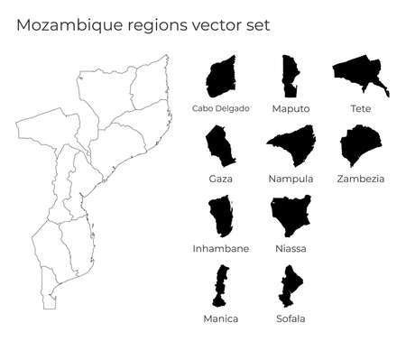 Mozambique map with shapes of regions. Blank vector map of the Country with regions. Borders of the country for your infographic. Vector illustration.