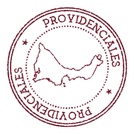 Providenciales round rubber stamp with island map. Vintage red passport stamp with circular text and stars, vector illustration. 矢量图像
