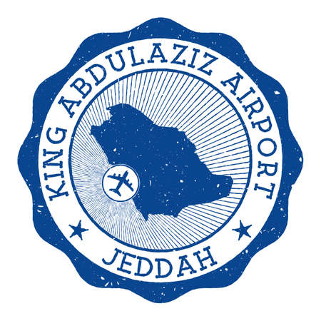 King Abdulaziz Airport Jeddah stamp. Airport of Jeddah round logo with location on Saudi Arabia map marked by airplane. Vector illustration.