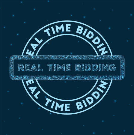 Real time bidding. Glowing round badge. Network style geometric real time bidding stamp in space. Vector illustration. Ilustração