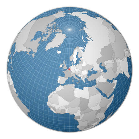 Globe centered to Belgium. Country highlighted with green color on world map. Satellite world projection. Creative vector illustration.