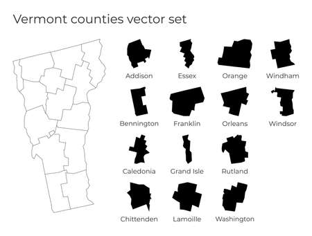 Vermont map with shapes of regions. Blank vector map of the Us State with counties. Borders of the us state for your infographic. Vector illustration. Ilustracja