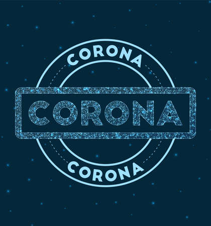 Corona. Glowing round badge. Network style geometric corona stamp in space. Vector illustration.