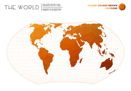 Triangular mesh of the world. Wagner VII projection of the world. Yellow Orange Brown colored polygons. Amazing vector illustration.