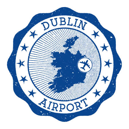 Dublin Airport stamp. Airport of Dublin round logo with location on Ireland map marked by airplane. Vector illustration.