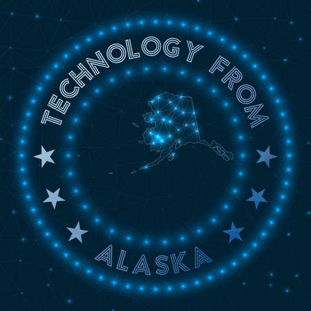Technology From Alaska. Futuristic geometric badge of the us state. Technological concept. Round Alaska logo. Vector illustration.