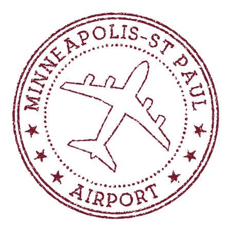 Minneapolis-St Paul Airport stamp. Airport of Minneapolis round logo. Vector illustration. 矢量图像