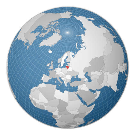 Globe centered to Lithuania. Country highlighted with green color on world map. Satellite world projection. Authentic vector illustration. Vettoriali
