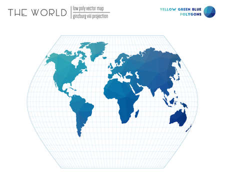 Low poly world map. Ginzburg VIII projection of the world. Yellow Green Blue colored polygons. Awesome vector illustration.