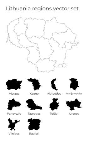Lithuania map with shapes of regions. Blank vector map of the Country with regions. Borders of the country for your infographic. Vector illustration.