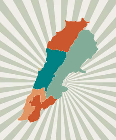 Lebanon map. Poster with map of the country in retro color palette. Shape of Lebanon with sunburst rays background. Vector illustration.