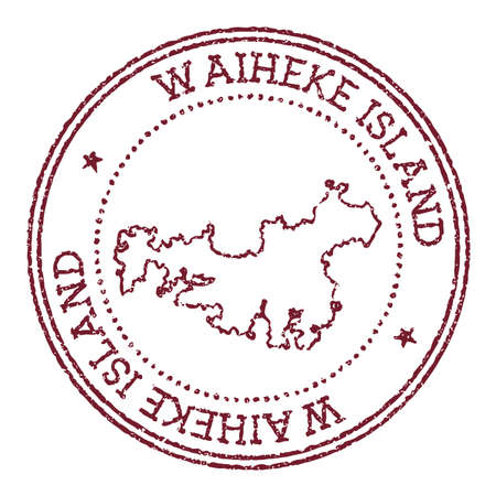 Waiheke Island round rubber stamp with island map. Vintage red passport stamp with circular text and stars, vector illustration. 矢量图像