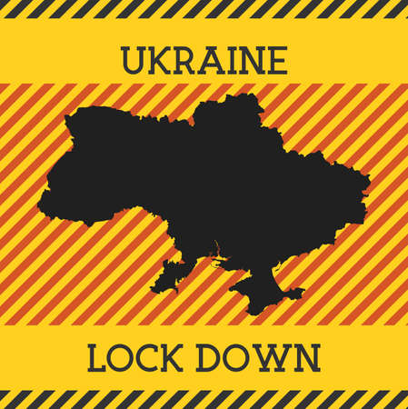 Ukraine Lock Down Sign. Yellow country pandemic danger icon. Vector illustration.