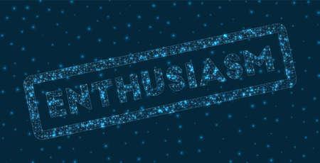 ENTHUSIASM word in digital style. Glowing geometric ENTHUSIASM badge. Powerful vector illustration.