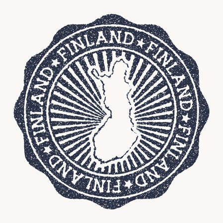Finland stamp. Travel rubber stamp with the name and map of country, vector illustration. Can be used as insignia, logotype, label, sticker or badge of the Finland.