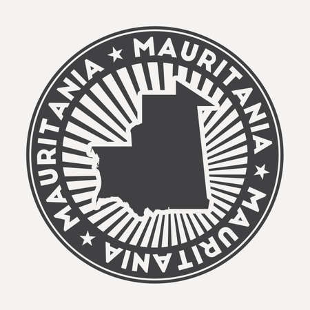 Mauritania round logo. Vintage travel badge with the circular name and map of country, vector illustration. Can be used as insignia, logotype, label, sticker or badge of the Mauritania. Ilustracja