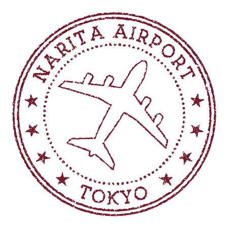 Narita Airport Tokyo stamp. Airport of Tokyo round logo. Vector illustration.
