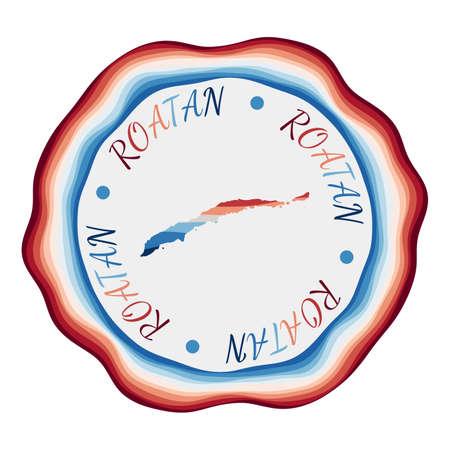 Roatan badge. Map of the island with beautiful geometric waves and vibrant red blue frame. Vivid round Roatan logo. Vector illustration. Ilustracja