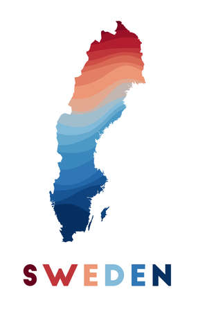 Sweden map. Map of the country with beautiful geometric waves in red blue colors. Vivid Sweden shape. Vector illustration. Illusztráció